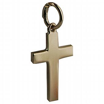 9ct Gold 17x10mm plain solid block Cross