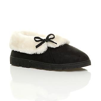 Ajvani womens flat winter faux sheepskin fur washable luxury slip on ankle booties slippers