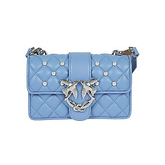 Pinko women's 1P212PY4HPE91 light blue leather shoulder bag