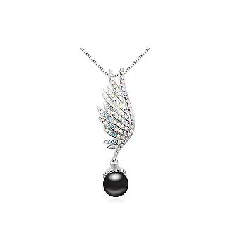 Pendant wing Pearl black and adorned with white Rhodium plate and Swarovski Crystal