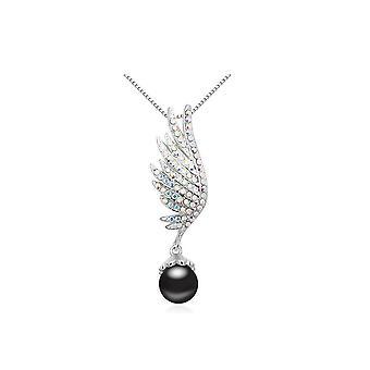 Zawieszka skrzydło Pearl czarny i ozdobiony biały talerz Rod i Swarovski Crystal