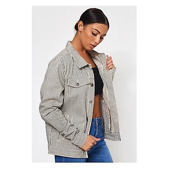 The Fashion Bible Black & White Stripe Denim Jacket