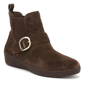 FitFlop Womens Chocolate Brown Suede Superbuckle Chelsea Boots