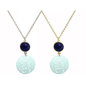 GEMSHINE Dalskette mandala and blue Sapphire. Pendant made of silver, gold plated or 45cm necklace. Made in Madrid, Spain. Delivered in a noble gift case.