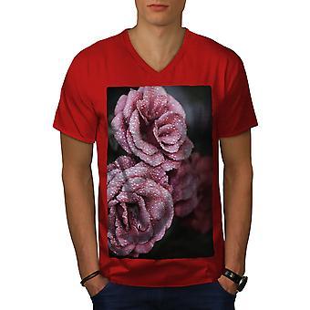 Rose Beautiful Art Nature Men RedV-Neck T-shirt   Wellcoda