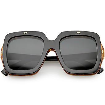 Oversize Flip Up Square Sunglasses Neutral Colored Lens Clear Lens 54mm
