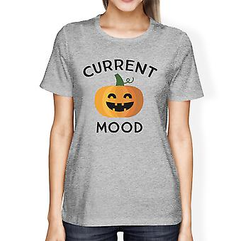 Pumpkin Current Mood Womens Grey Cotton Tee Shirt For Halloween