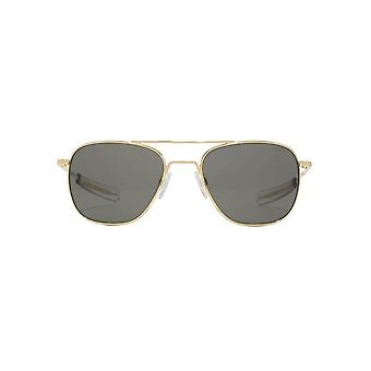 Randolph Engineering Square Pilot Sunglasses In 23K Gold Grey