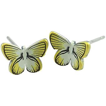 Ti2 Titanium Woodland Small Butterfly Stud Earrings - Yellow