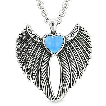 Engelsflügel magische Herz Schutz Kräfte Amulett Aqua Blue simulierten Katzen Auge Anhänger Halskette