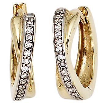 الأطواق كلابكريولين 333، الذهب الأصفر جزء الذهب والروديوم مطلي مع 28 مكعب الزركونيا أقراط الذهب