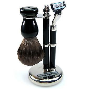 Shaving set 3-piece, chrome-plated, brush with genuine badger hair, razor Mach3 blade