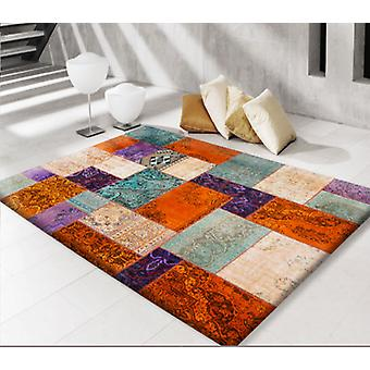 Rugs -Modern Persian Patchwork Orange & Cyan