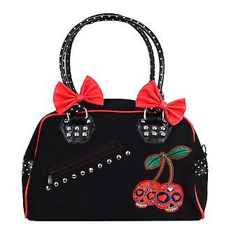Banned Cherry Skulls Handbag With Polka Dot Trim & Handles