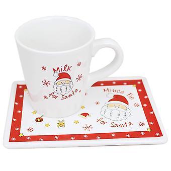 Mleka do domu Christmas Santa kubek i zestaw płyta Pie mielone na Wigilię Bożego Narodzenia