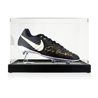 Eric Cantona Signed Ligera Football Boot In Display Case