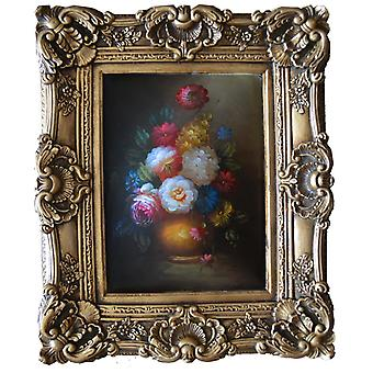 Flowers, oil painting with frame, inside dimensions 30 x 40 cm