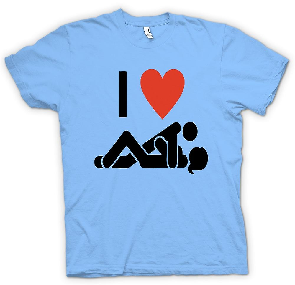Mens T-shirt - I love Heart Sex - Funny