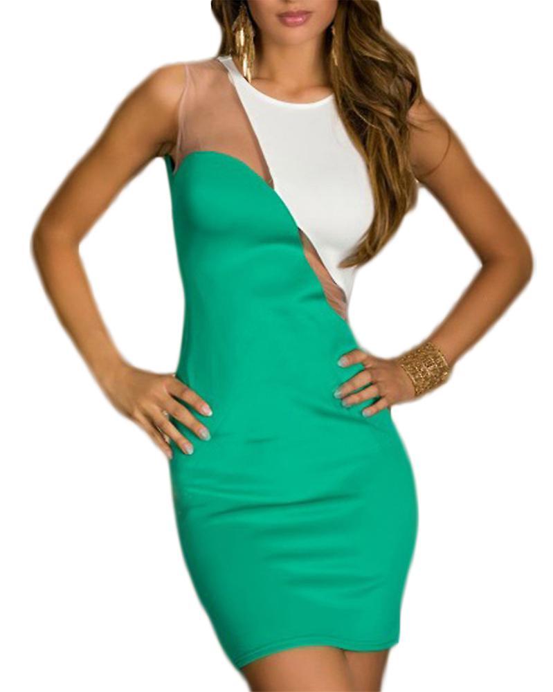 Waooh - Short dress with semi-transparent neckline Eath