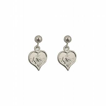 Silver 8x6mm heart St Christopher dropper Earrings