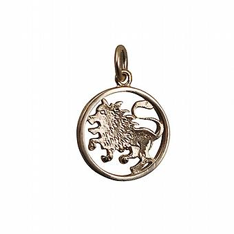 9ct Gold 11mm pierced Leo Zodiac Pendant