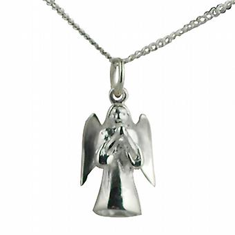 Silver 17x12mm solid Guardian Angel Pendant with a curb Chain 24 inches