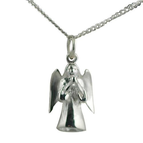Silver 17x12mm solid Guardian Angel with Curb chain