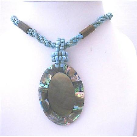 Turquoise Beaded Multi Strands Necklace w/ Abalone Shell Cream Color
