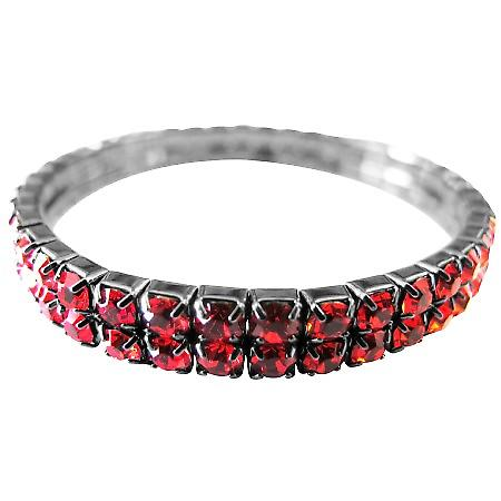 Cubic Zircon Passionate Red Comfortable Wear Stretchable Bracelet