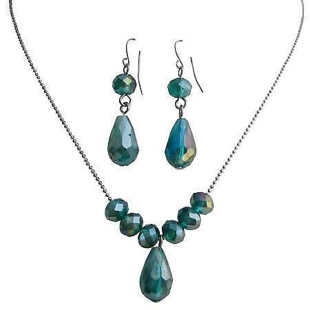 Handcrafted Beaded Crystals Jewelry Indicolite Teardrop Jewelry Gift