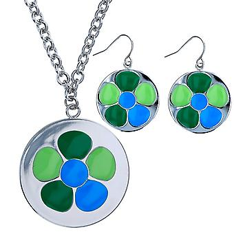 The Olivia Collection Women Silvertone Green & Blue Flower Pendant & Earring Set