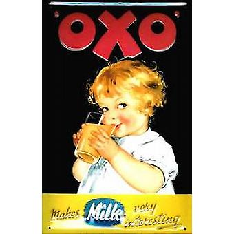 Oxo makes milk interesting embossed metal sign