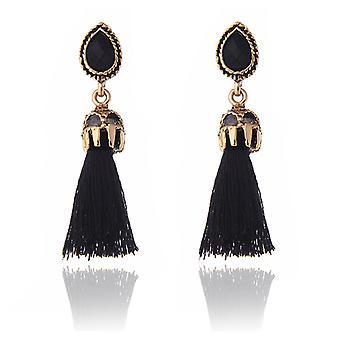 Boucles d'oreilles pompons vintage noir