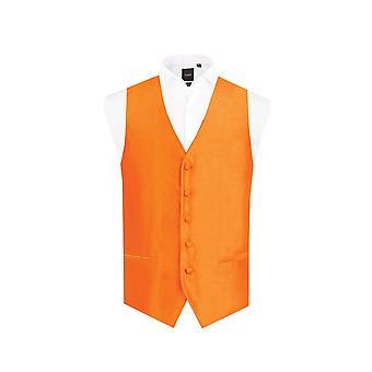 Dobell Mens Orange väst passar regelbundna Dupion 5 knappen