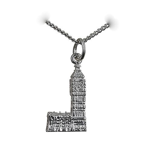 Silver 20x11mm Big Ben Pendant with a curb Chain 18 inches