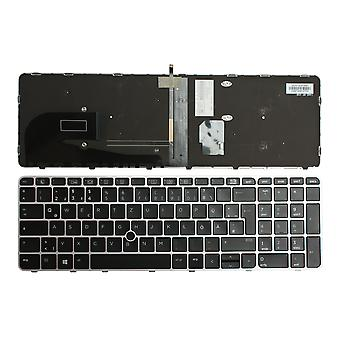 HP 836623-041 With Pointer Silver Frame Backlit Black Windows 8 German Layout Replacement Laptop Keyboard