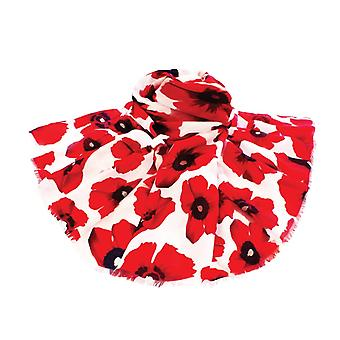 Eternal Collection Moda Poppy Print White And Red Large Oblong Scarf