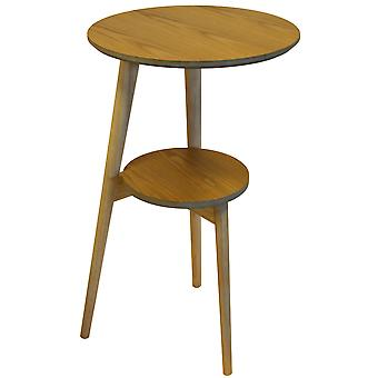 Orion - Retro Solid Wood Tripod Leg Round Table With Shelf - Natural