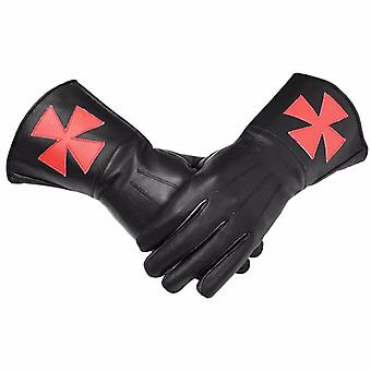 Knight Templar Black Gauntlets Red Cross Soft Leather Gloves
