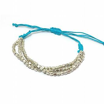 The Olivia Collection Triple Strand Metal Bead Blue Slipknot Cord Bracelet