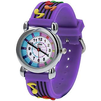 Relda Girl ' s-Children Time Teacher 3D Musical Notes Silicone Strap Watch + Telling The Time Award