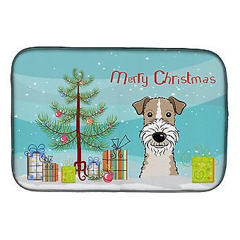 Sapin de Noël et fil plat Fox-Terrier poil Mat de séchage