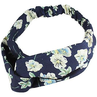 Molly & Rose Twist Knot Head Wrap Headband Vintage Flowers Navy