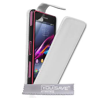 YouSave Sony Xperia Z1 Compact Leather-Effect Flip Case - White