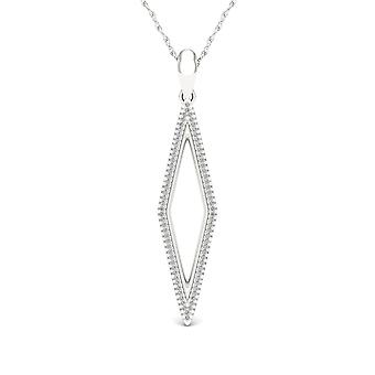 IGI Certified S925 Sterling Silver 0.2Ct TW Diamond Accent Loop Pendant Necklace