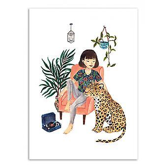 Art-Poster-Jaguar en meisje-Ploypisut 50 x 70 cm