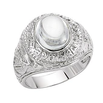 Jewelco London Men's Rhodium Plated Sterling Silver Oval Cubic Zirconia Cabochon College Signet Ring