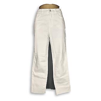 Denim & Co. Women's Jeans Studio Classic Denim Cuffed White A305412