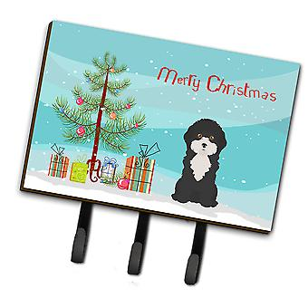 Black and White Cyprus Poodle Christmas Tree Leash or Key Holder