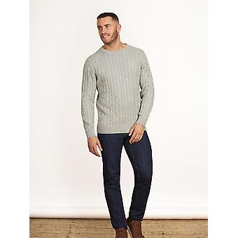Signature Cable Knit Crew - Grey Marl